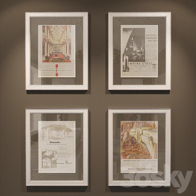 3d Models Frame Pictures Vintage Magazine Pages