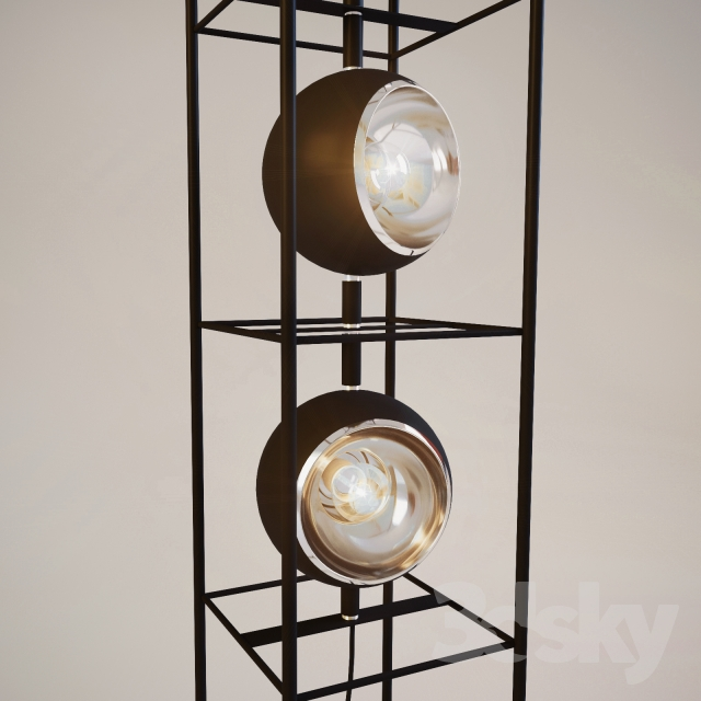3d models floor lamp floor lamp tower 5 lite for Modern tower floor lamp