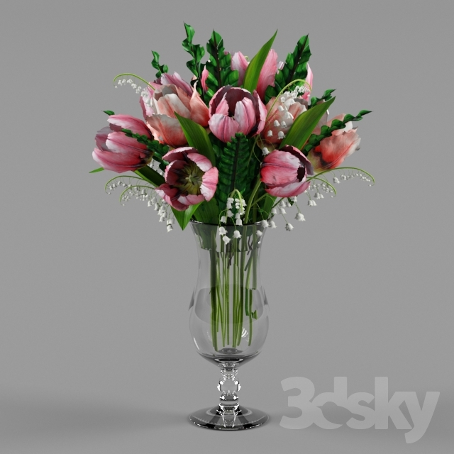 """Tulips and lilies in a vase """"Hurricane"""""""