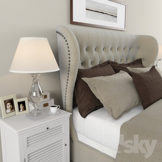 Attractive 3d Models: Bed   Restoration Hardware Sleigh Churchill Fabric Bed