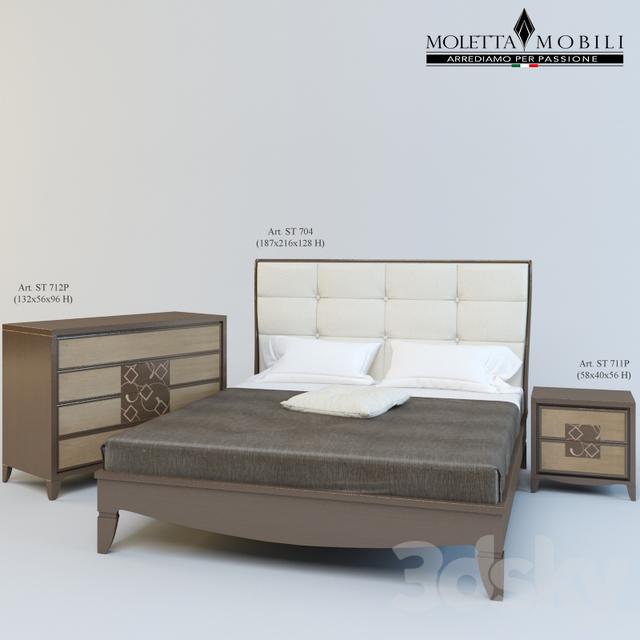 3d models: Other - Moletta Mobili series Letto con testata ecopelle