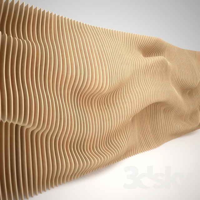 3d models: Other decorative objects - Parametric wall panel of wood