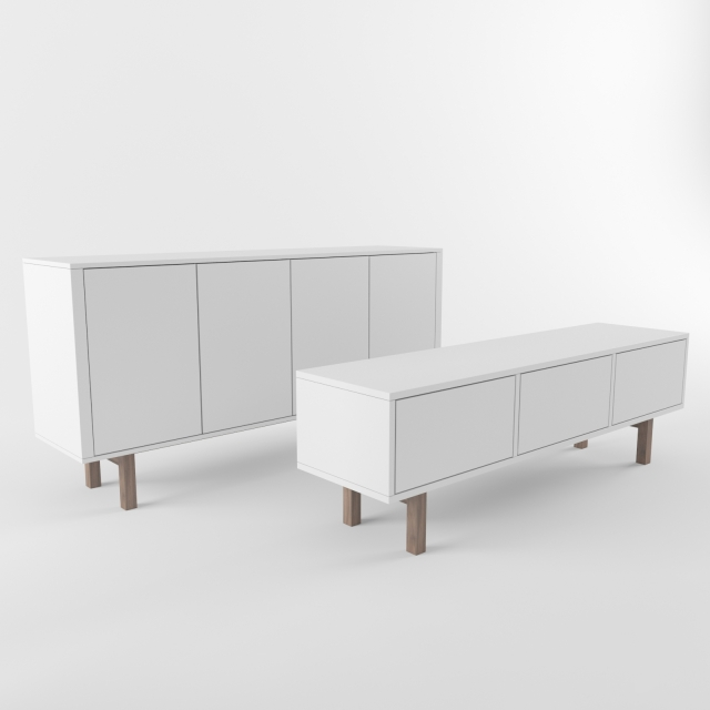 3d models sideboard chest of drawer ikea stockholm sideboard rtv. Black Bedroom Furniture Sets. Home Design Ideas