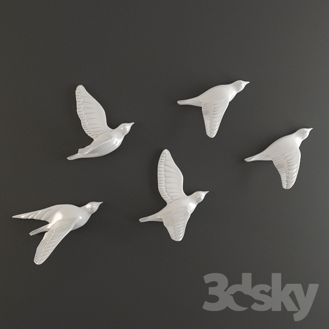 3d Models Sculpture Porcelain Birds Wall Decor