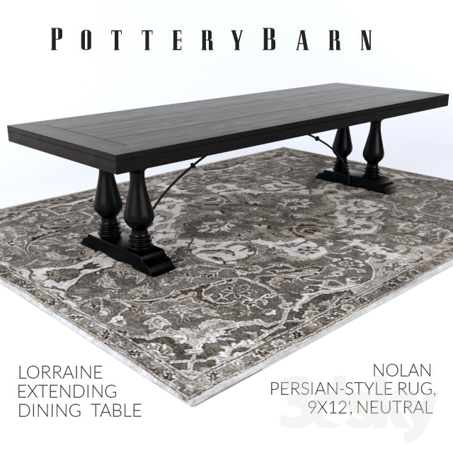 D Models Table Pottery Barn LORRAINE DINING TABLE NOLAN - Lorraine coffee table pottery barn