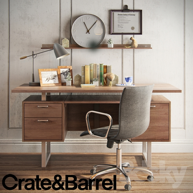 3d Models Table Chair Crate Amp Barrel Decorative Set