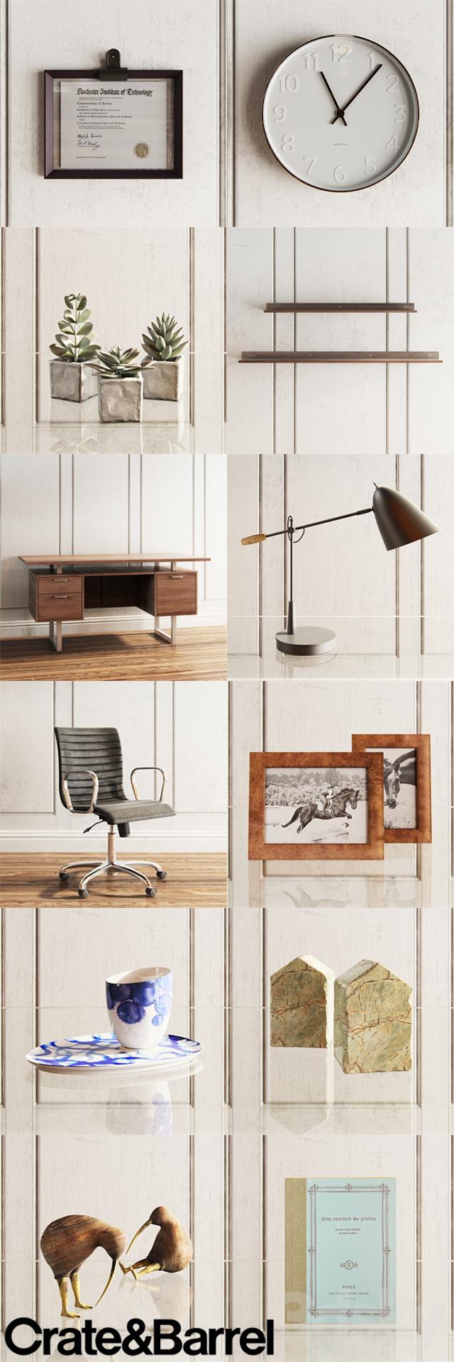3d Models Table Chair Crate Amp Barrel Decorative Set