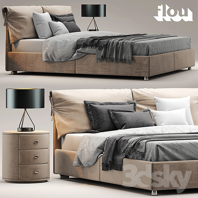 3d models bed bed flou letto nathalie. Black Bedroom Furniture Sets. Home Design Ideas