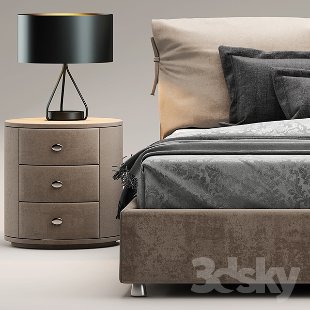 3d models: Bed - Bed flou Letto Nathalie