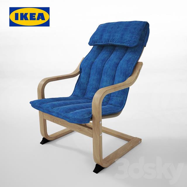 Poeng baby chair, birch veneer, blue Almos