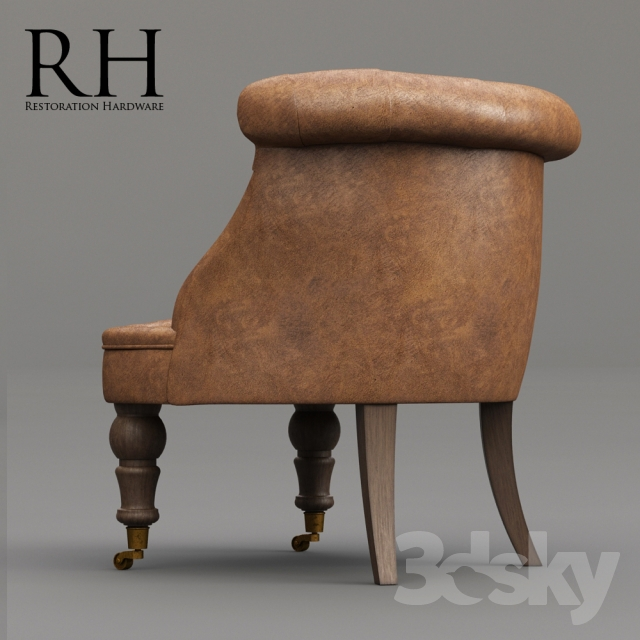 3d Models: Arm Chair   Restoration Hardware / Sophie Tufted Leather Slipper  Chair