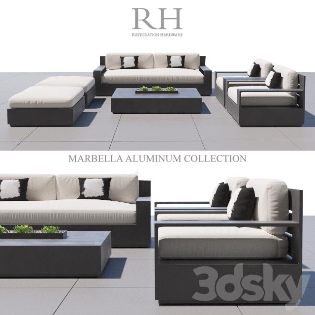 3d models sofa rh marbella aluminum for Sofa exterior marbella