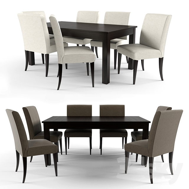3d models table chair table and 6 chairs bjursta for Table ikea 6 99
