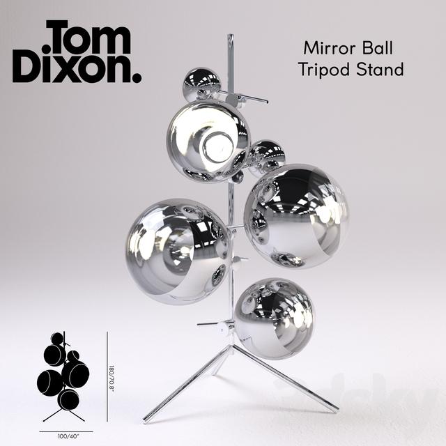 3d models: Floor lamp - Mirror Ball Tripod Stand