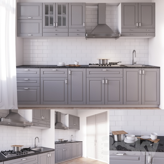 Ikea Kitchen Bodbyn Grey: 3d Models: Kitchen
