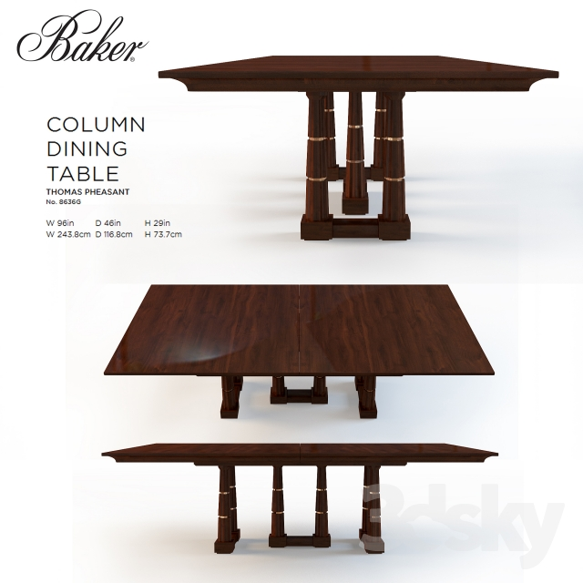 baker dining room table and chairs 3d models table baker column dining table no 8636g 8856