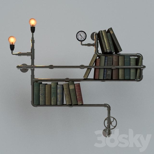 Decorative Book Shelf In The Style Of Steampunk