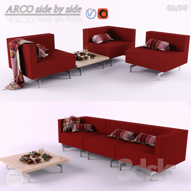 3d models sofa sofa arco side by side for Divan ovalia 05 version 2