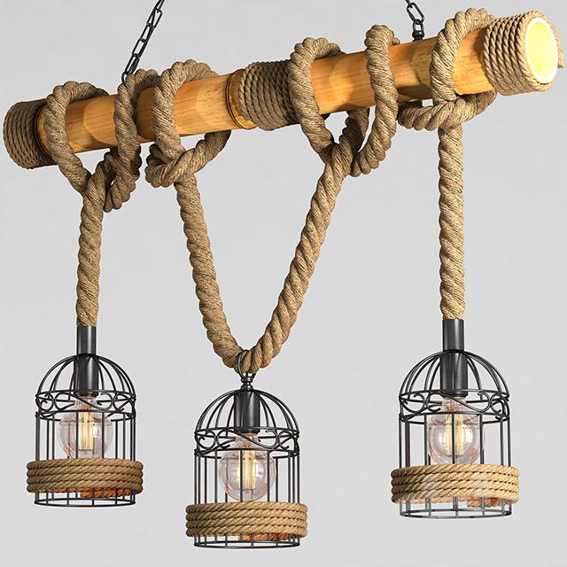 3d models: Ceiling light - Chandelier Loft Rope Chandelier