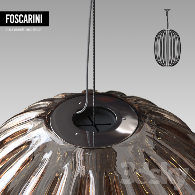 3d models ceiling light foscarini plass grande suspension. Black Bedroom Furniture Sets. Home Design Ideas