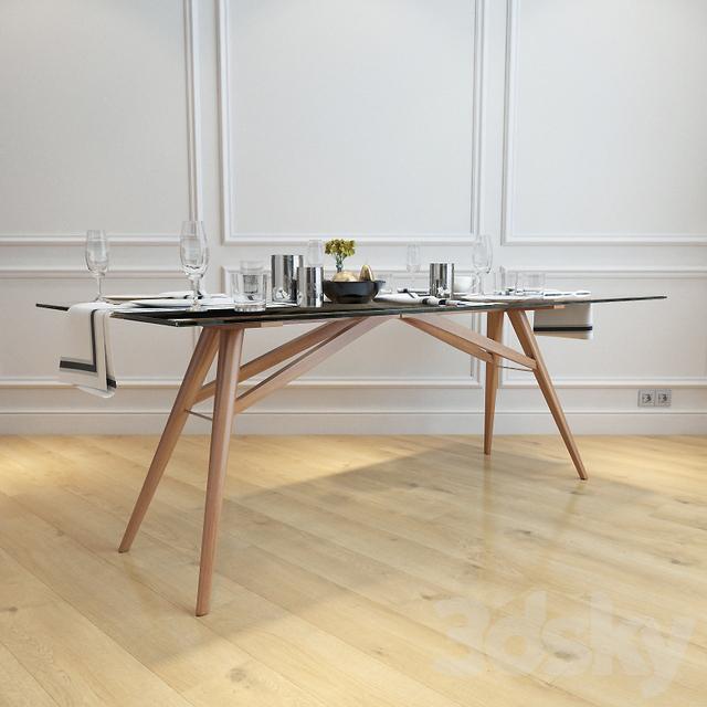 3d models table west elm jensen dining table. Black Bedroom Furniture Sets. Home Design Ideas