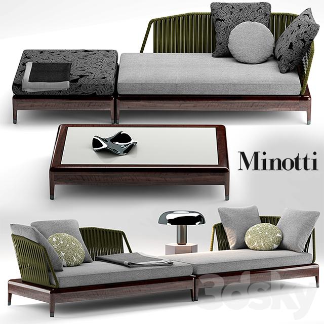 3d models: Sofa - Sofa minotti indiana