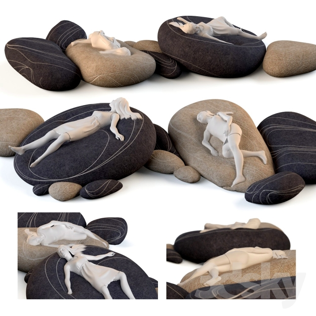 Floor Pillows Stones : 3d models: Other soft seating - Floor cushions stones ?3 (Factory)