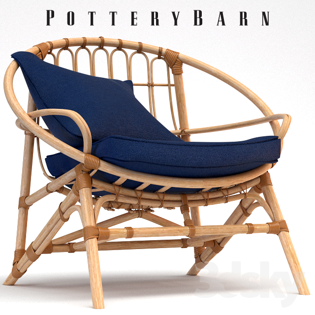 3d models: Arm chair - Armchair Pottery Barn Luling Rattan ...