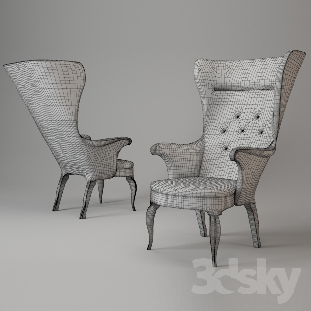 & 3d models: Arm chair - Frits Henningsen High Back Easy Chair 1939