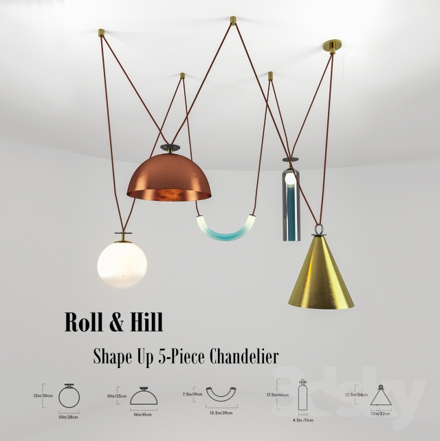 3d models ceiling light roll hill shape up 5 piece chandelier. Black Bedroom Furniture Sets. Home Design Ideas