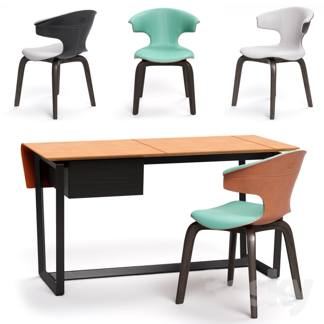3d Models Table Chair Poltrona Frau Montera Armchair And Fred Desk