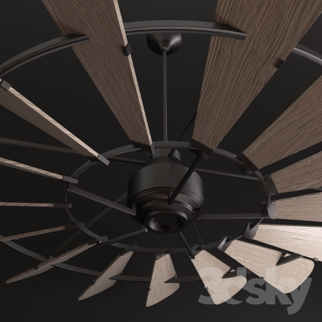 3d models: Ceiling light - Horchow Windmill 72 Ceiling Fan
