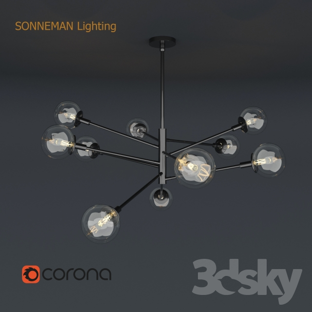 3d models ceiling light sonneman lighting orb 10 light radial pendant