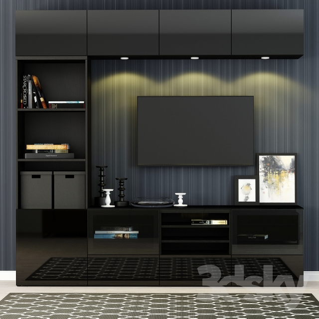 3d models wardrobe display cabinets furniture for tv ikea besto besta with a glass panel. Black Bedroom Furniture Sets. Home Design Ideas