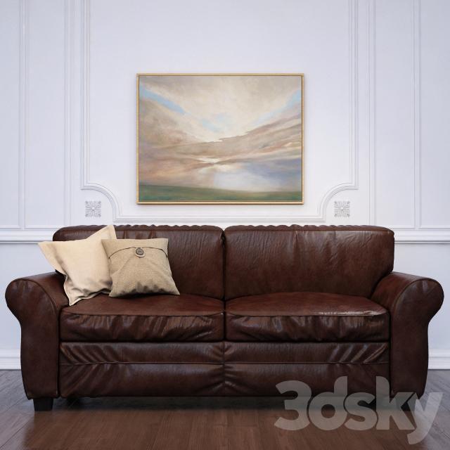 3d models sofa pearce leather sleeper sofa pottery barn for Sectional sleeper sofa pottery barn