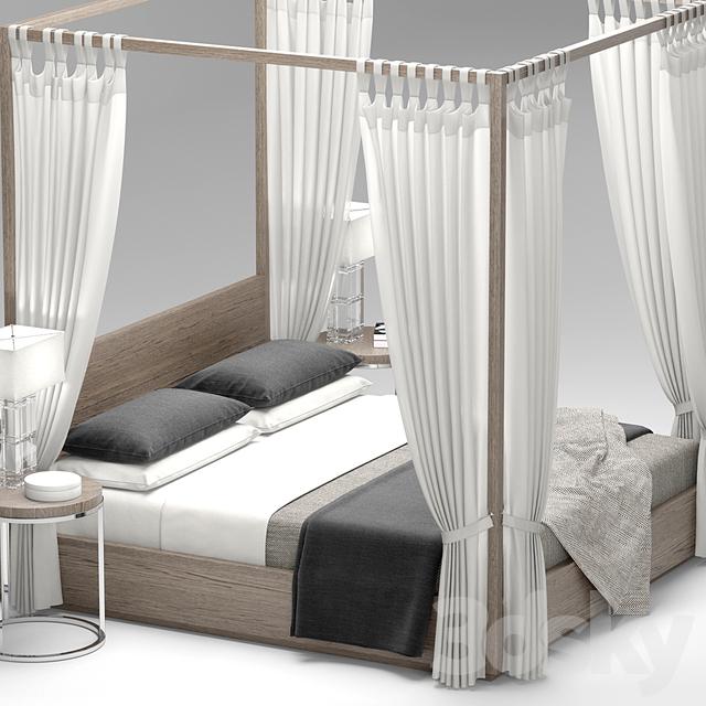 3d models bed rh modern machinto four poster bed. Black Bedroom Furniture Sets. Home Design Ideas