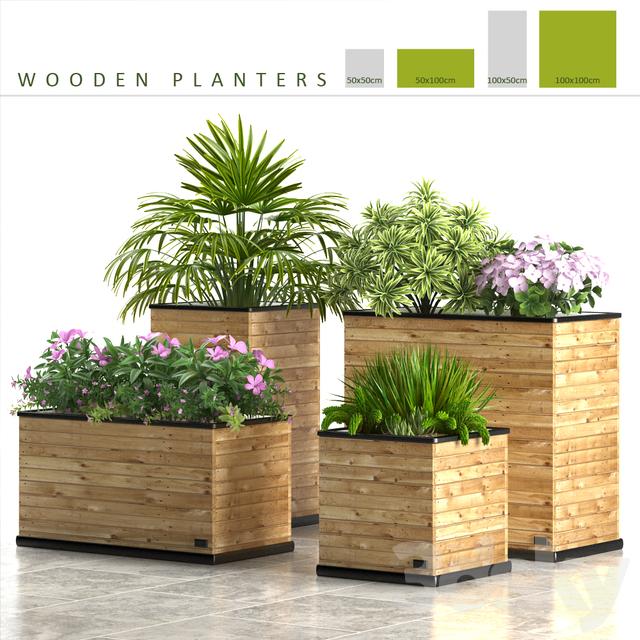 3d Models Plant Plants 58 Wooden Planters