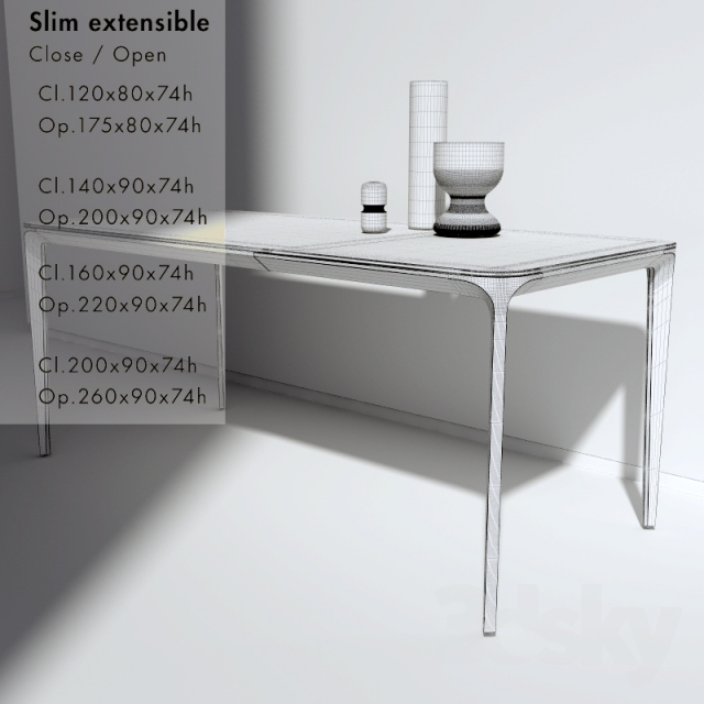 3d Models: Table   Folding Table Slim Extensible U0026quot;Sovetu0026quot;