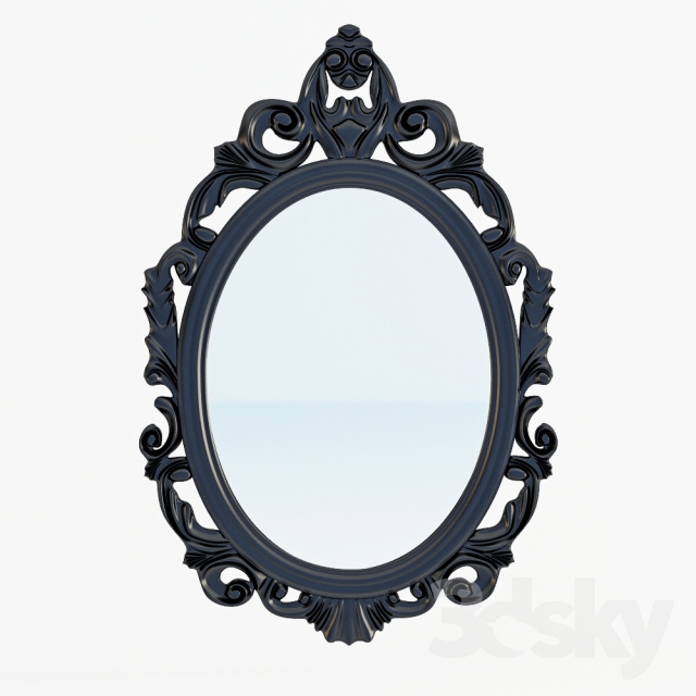 3d models mirror baroque oval wall mirror for Baroque oval wall mirror