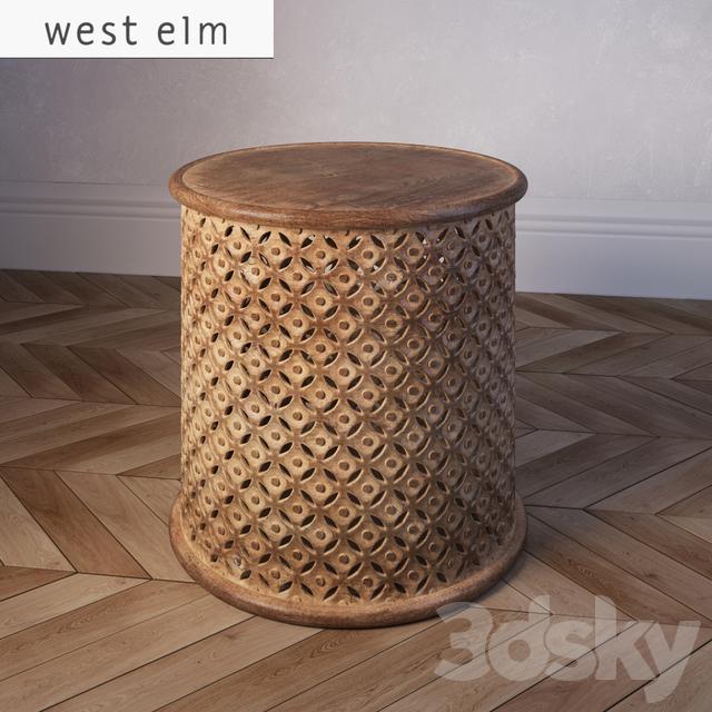 3d Models Table West Elm Carved Wood Side Table