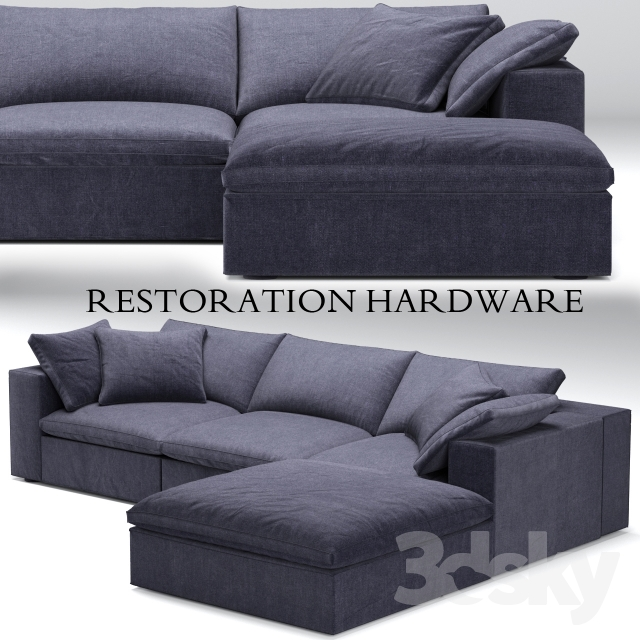 Restoration Hardware Sofa Collection: Restoration Hardware Cloud Modular Blue Sofa