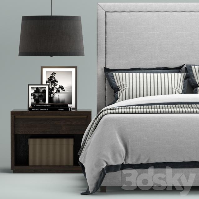 3d models Bed Restoration Hardware Wallace Upholstered bed