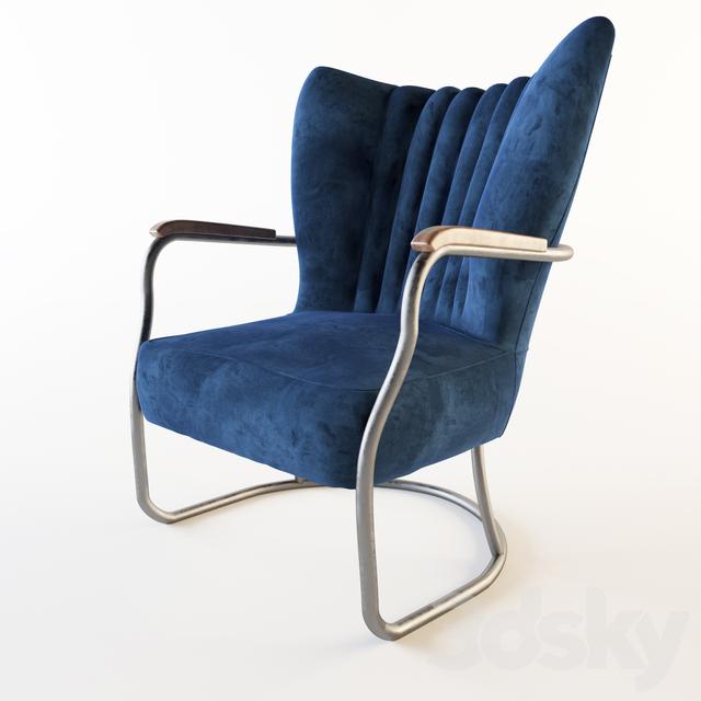 Armchair Kare Kansas Blue Velvet Armchair