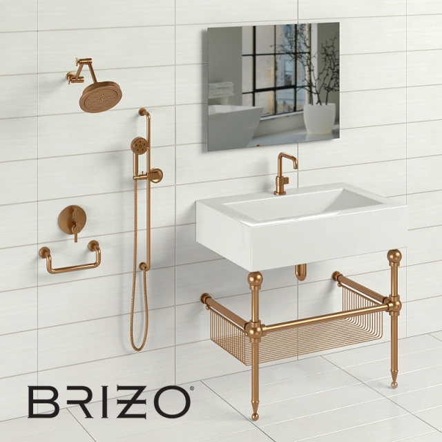 3d models: Faucet - Brizo Litze + sink&stand&mirror