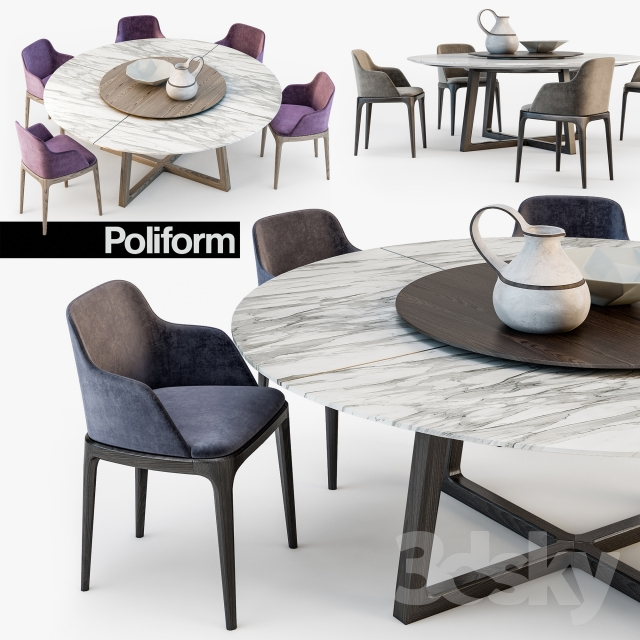 3d Models Table Chair Poliform Grace Concorde