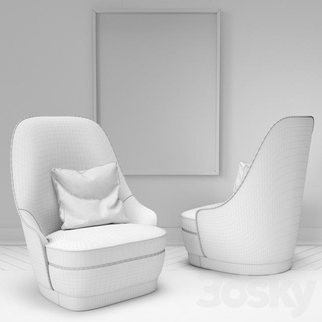 3d models arm chair maya armchair clan for Chair 3d model maya