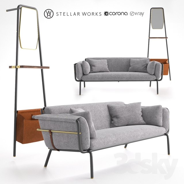 3d models: Sofa - STELLAR WORKS Valet Love Seat &