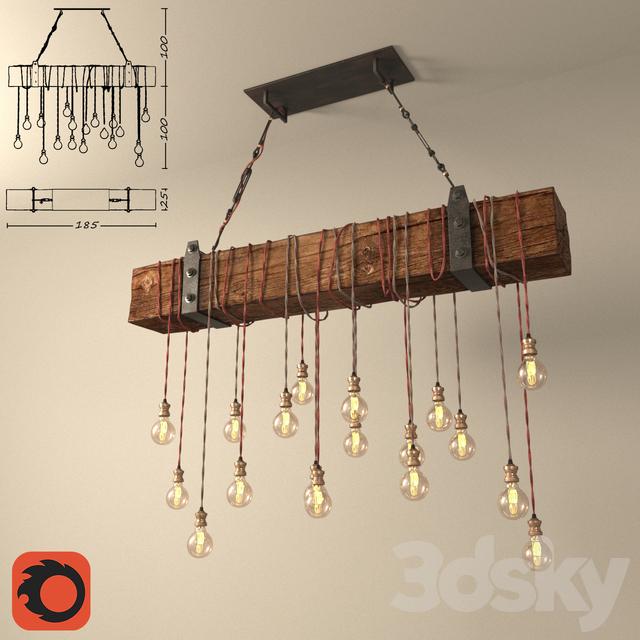 3d Models Ceiling Light Chandelier Made Of Wooden Beams Diy