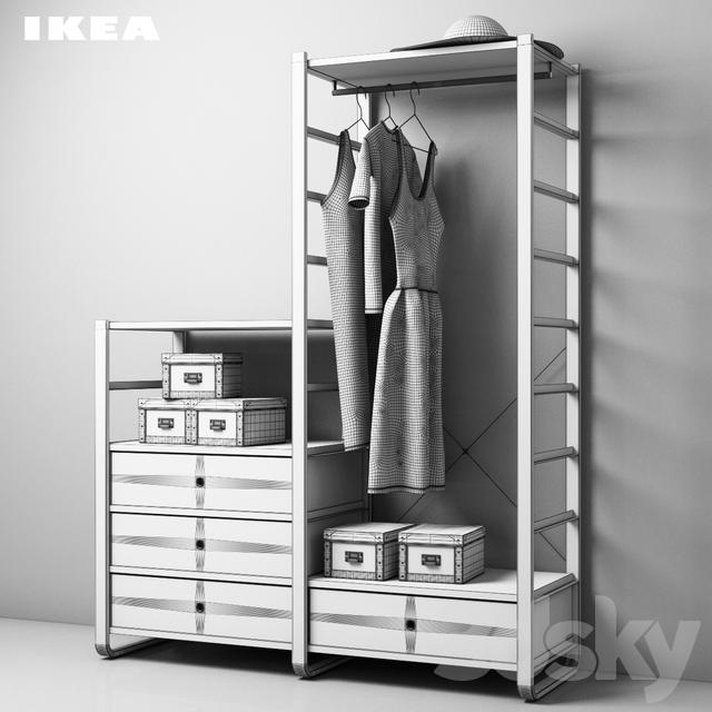 3d models wardrobe display cabinets ikea elvarli. Black Bedroom Furniture Sets. Home Design Ideas