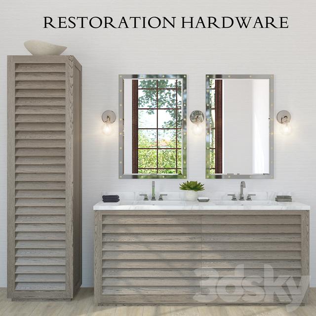 Restoration Hardware Grand Shutter Vanity Sink 2x